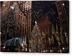 Rockafeller Center At Christmas Acrylic Print by Amanda Vouglas