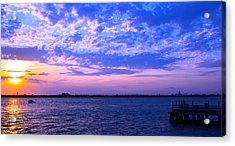 Rockaway Point Dock Sunset Violet Orange Acrylic Print