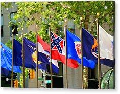 Rockefeller Center Flags Acrylic Print by Allen Beatty