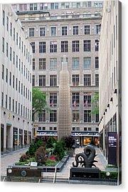 Rockefeller Center Ny Acrylic Print by Janet Pugh