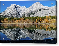 Rockies From Wedge Pond Under Late Fall Colours, Spray Valley Pr Acrylic Print