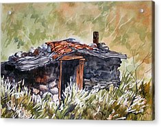 Acrylic Print featuring the painting Rocking Miners Cabin by Pat Crowther