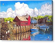 Rockport Cove Acrylic Print by David Linton