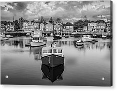 Rockport Harbor Bw Acrylic Print