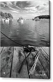 Rockport Harbor, Maine #80458-bw Acrylic Print