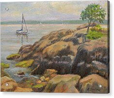 Rocks And Boat, Manor Park Acrylic Print by Phyllis Tarlow