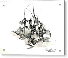 Rocks And Some Grass Acrylic Print by Padamvir Singh