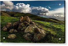 Rocks And Storm Clouds On Mission Peak Acrylic Print by Fred Rowe