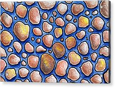 Rocks And Water Abstract Acrylic Print by Nancy Mueller