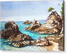 Rocks At Kalamaki Acrylic Print by Yvonne Ayoub