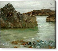 Acrylic Print featuring the painting Rocks At Newport by Henry Scott Tuke