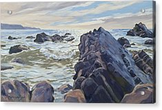 Rocks At Widemouth Bay, Cornwall Acrylic Print