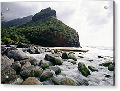Rocks On A Beach Hanakapiai Beach Na Pali Coast Kauai Hawaii Acrylic Print by George Oze