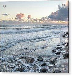 Rocks On The Beach During Sunset Acrylic Print