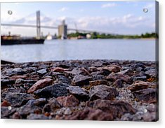 Rocks River And A Bridge In Savannah Georgia Acrylic Print