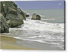 Rocks, Sand And Surf Acrylic Print
