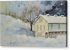 Rockville Farm In Snowstorm Acrylic Print