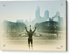 Rocky At The Top Of The Steps Acrylic Print by Bill Cannon