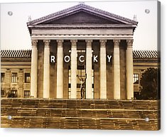 Rocky Balboa On The Art Museum Steps Acrylic Print by Bill Cannon