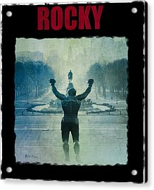 Rocky Balboa On Top Of The Art Museum Steps Acrylic Print by Bill Cannon