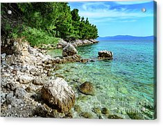 Rocky Beach On The Dalmatian Coast, Dalmatia, Croatia Acrylic Print