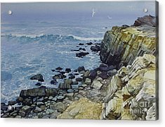 Acrylic Print featuring the painting Rocky Beach by Sergey Zhiboedov