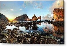 Acrylic Print featuring the photograph Rocky Beach Sunrise, Bali by Pradeep Raja Prints