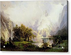 Rocky Mountain Landscape Acrylic Print by Albert Bierstadt
