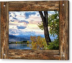 Rocky Mountain Longs Peak Rustic Cabin Window View Acrylic Print by James BO Insogna