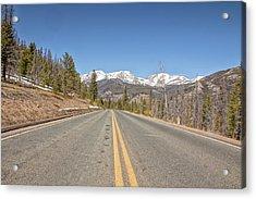 Acrylic Print featuring the photograph Rocky Mountain Road Heading Towards Estes Park, Co by Peter Ciro