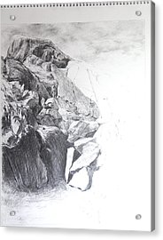 Rocky Outcrop In Snowdonia. Acrylic Print by Harry Robertson
