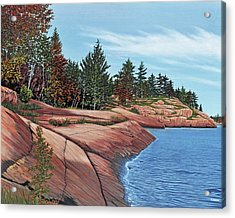 Acrylic Print featuring the painting Rocky River Shore by Kenneth M Kirsch