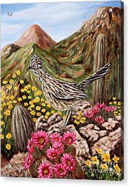 Acrylic Print featuring the painting Rocky Road Runner by Judy Filarecki
