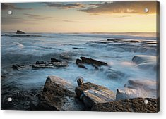 Acrylic Print featuring the photograph Rocky Seashore During Sunset by Michalakis Ppalis