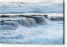 Acrylic Print featuring the photograph Rocky Seashore With Wavy Ocean And Waves Crashing On The Rocks  by Michalakis Ppalis