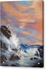 Rocky Shore Acrylic Print by Joni McPherson