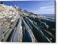 Rocky Shoreline With A Lighthouse Pemaquid Point Maine Acrylic Print by George Oze