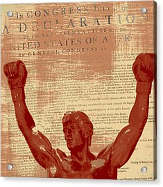 Rocky Statue Declaration Of Independence Acrylic Print by Brandi Fitzgerald