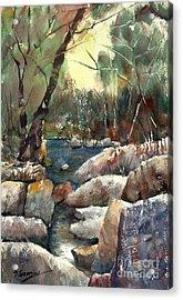 Rocky Stream Acrylic Print by Sof Georgiou