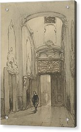 Rococo Portal In City Hall In The Hague With A Man In Seventeenth-century Costume Acrylic Print by Johannes Bosboom