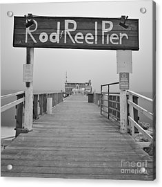 Rod And Reel Pier In Fog In Infrared 53 Acrylic Print
