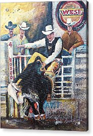 Rodeo Ride Acrylic Print by Linda Shackelford