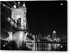 Acrylic Print featuring the photograph Roebling Bridge And Cincinnati Skyline At Night - Black And White by Gregory Ballos