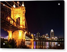 Acrylic Print featuring the photograph Roebling Bridge And Cincinnati Skyline At Night by Gregory Ballos