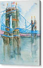 Roebling On The Ohio River Acrylic Print by Elaine Duras