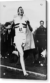 Roger Bannister Crossing The Finish Acrylic Print by Everett