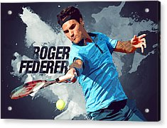 Roger Federer Acrylic Print by Semih Yurdabak