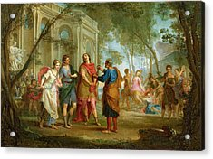 Roland Learns Of The Love Of Angelica And Medoro  Acrylic Print by Louis Galloche