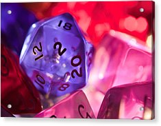 Role-playing D20 Dice Acrylic Print by Marc Garrido