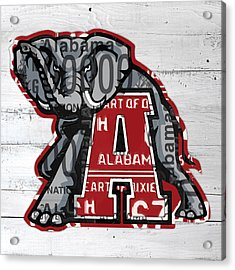 Roll Tide Alabama Crimson Tide Recycled State License Plate Art Acrylic Print